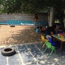 Snack outdoors and sand pit